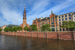 Hamburska miasto linia horyzontu Zdjęcia Royalty Free