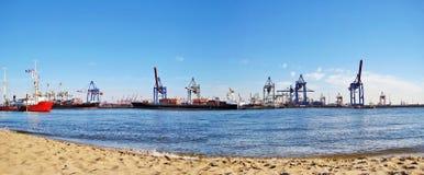Hamburska schronienia, portu panorama/, Niemcy Obrazy Stock