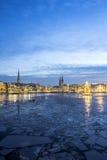 Hamburski Alster jezioro przy bożymi narodzeniami Obrazy Royalty Free