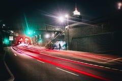 Hamburski miasto ruchu drogowego innenstadt laseru postu schnell dżemu czerwieni hafencity fotografia royalty free