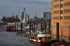 Hamburski schronienia i miasta nabrzeże, Niemcy Zdjęcie Stock
