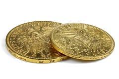 Hamburskie złociste monety Zdjęcia Royalty Free