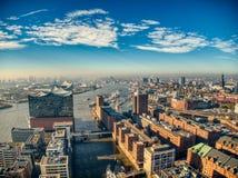 Hamburskiego elbphilharmonie trutnia odgórny widok fotografia royalty free