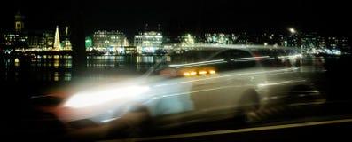 Hamburskiego Szybkiego samochodu domu taxi nadokienni wakacyjni domy zaświecają obrazy royalty free
