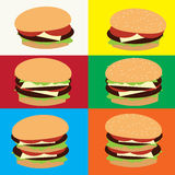 Hamcheeseburger用在上面的芝麻 免版税库存图片