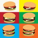 Hamcheeseburger con sesamo sulla cima illustrazione vettoriale