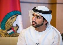 Hamdan bin Mohammed Al Maktoum. ABU DHABI, UNITED ARAB EMIRATES - Feb 24, 2015: Crown Prince of Dubai Hamdan bin Mohammed Al Maktoum during a meeting with the Stock Images