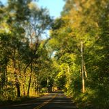 The Road Less Traveled. Hamden Connecticut country road Stock Photo