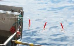 Hame?ons sur une ligne sur une mar?e de bateau de p?che dans le port en Irlande c image stock