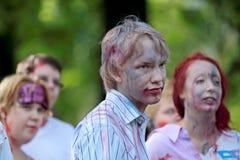 Hameenlinna, Finlandia 06/13/2014 di passeggiata dello zombie immagini stock