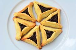 Hamentashen Ozen Haman普珥节曲奇饼 库存图片