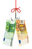 Hameçon et argent Image stock