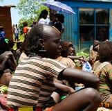 Hamer部落女孩Omo谷,埃塞俄比亚 图库摄影