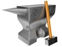 Hamer en aambeeld Stock Foto