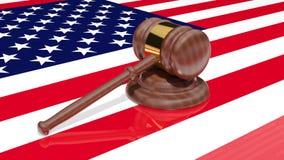 Hamer en de Amerikaanse vlag stock illustratie