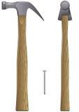 Hamer en spijker Stock Afbeelding