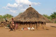 Hamer, Ethiopia, Africa. TURMI, ETHIOPIA - NOVEMBER 18, 2014: Traditional village of Hamer people on November 18, 2014 in Turmi, Ethiopia Stock Photo