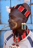 Hamer krigare i södra Omo, Etiopien Arkivfoton