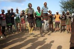 Hamer men at Evangadi dance in Lower Omo Valley, Ethiopia Stock Photography