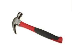 Hamer met rood die handvat op wit wordt geïsoleerd Royalty-vrije Stock Foto
