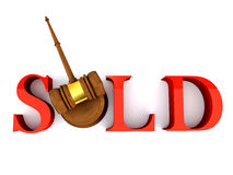 Hamer; rechtvaardigheid; verkocht; hamer; veiling; bod; isolat Royalty-vrije Stock Afbeelding
