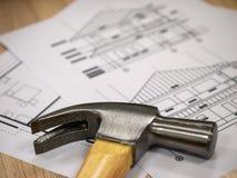 Hamer Tools on Blueprints Stock Image