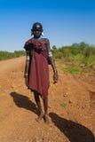 Mursi tribe girl - 05 october 2012 , Omo valley, Ethiopia royalty free stock photo