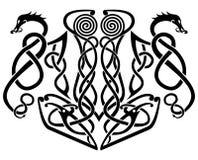 Hamer van Thore en Draken Vectorillustratie royalty-vrije stock afbeeldingen