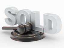 Hamer, verkochte tribuneinschrijving Royalty-vrije Stock Foto