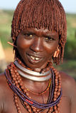 Hamervrouw in Zuiden Omo, Ethiopië Stock Foto's