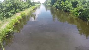 Hamiltan canal boat copter video stock video footage