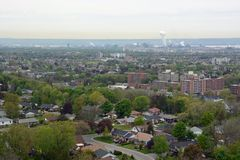 Hamilton aerial. View from the Devils Punch bowl lookout point towards the Stoney Creek community and Hamilton in the far background, Ontario Canada Stock Photo