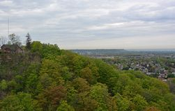 Hamilton aerial. View from the Devils Punch bowl lookout point towards the Stoney Creek community and Hamilton in the far background, Ontario Canada Royalty Free Stock Image