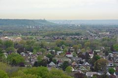 Hamilton aerial. View from the Devils Punch bowl lookout point towards the Stoney Creek community and Hamilton in the far background, Ontario Canada Stock Photos