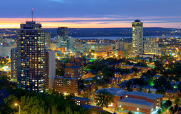 Hamilton, Canada, at blue hour. The colorful view on Hamilton downtown from the mountain, at twilight Stock Photography