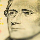 Hamilton en el billete de dólar diez Foto de archivo
