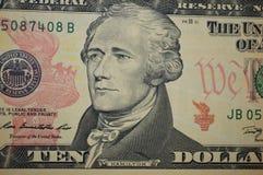 Hamilton en nuevos diez dólar billete de banco Imágenes de archivo libres de regalías