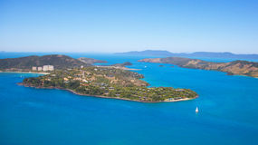 Hamilton Island. Aerial of Hamilton Island in the Whitsundays, Queensland Australia. Reef and sailing boats seen in the blue water Stock Photography