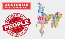 Hamilton Island Map Population People und unreine Robbe stock abbildung