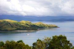 Hamilton Island Resort Whitsundays. Sunny landscape showing Hamilton Sialnd and Whitsundays tropical ocean scene Royalty Free Stock Photos