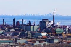 Hamilton from the Niagara escarpment with Toronto skyline in background stock image