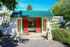 HAMILTON, NZ - 25 DE FEBRERO DE 2015: El jardín del escolar chino en Hamilton Gardens imagenes de archivo