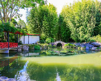 HAMILTON, NZ - FEBRUARY 25, 2015: Chinese Scholar's garden in Hamilton Gardens stock photography