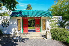 HAMILTON, NZ - FEBRUARY 25, 2015: Chinese Scholar's garden in Hamilton Gardens stock images