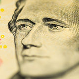 Hamilton på räkning för dollar tio Arkivfoto