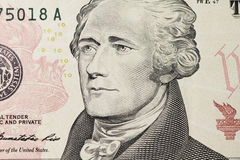 Hamilton's portrait on dollar Royalty Free Stock Images