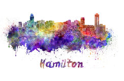 Hamilton skyline in watercolor Stock Photos