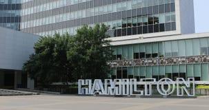 Hamilton tecken på stadshuset, Kanada 4K lager videofilmer