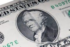 Hamilton US tio dollarbill Arkivfoton