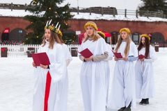 Choir of Finnish girls on Christmas fair royalty free stock photos